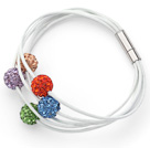 Multi Color Round 10mm Rhinestone Ball and White Leather Bracelet with Magnetic Clasp
