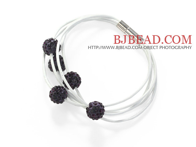Dark Purple Round 10mm Rhinestone Ball and White Leather Bracelet with Magnetic Clasp