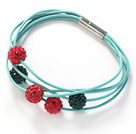 Red and Green Color Round 10mm Rhinestone Ball and Blue Leather Bracelet with Magnetic Clasp