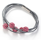 Pink Color Round 10mm Rhinestone Ball and Gray Leather Bracelet with Magnetic Clasp
