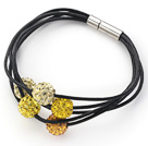 Assorted Yellow Color Round 10mm Rhinestone Ball and Black Leather Bracelet with Magnetic Clasp