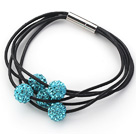 Lake Blue Round 10mm Rhinestone Ball and Black Leather Bracelet with Magnetic Clasp