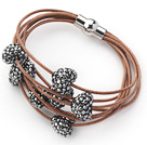 Silver Gray Color Heart Shape Rhinestone and Brown Leather Bracelet with Magnetic Clasp