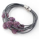 Purple Color Heart Shape Rhinestone and Gray Leather Bracelet with Magnetic Clasp under $ 40