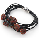 Reddish Brown Color Heart Shape Rhinestone and Black Leather Bracelet with Magnetic Clasp