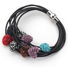 Multi Color Heart Shape Rhinestone and Black Leather Bracelet with Magnetic Clasp