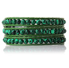 Newly Trendy Design Three Strands Round Malachite Beads Leather Bracelet