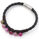 6mm Round Watermelon Chalcedony and Black Leather Bracelet with Magnetic Clasp under $ 40