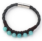 6mm Round Blue Jade and Black Leather Bracelet with Magnetic Clasp