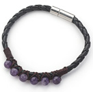 6mm Round Amethyst and Black Leather Bracelet with Magnetic Clasp under $ 40