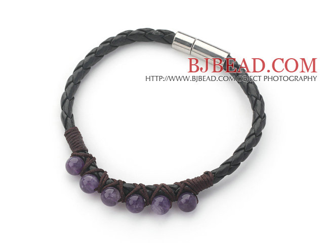 6mm Round Amethyst and Black Leather Bracelet with Magnetic Clasp