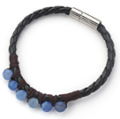 6mm Round Blue Agate and Black Leather Bracelet with Magnetic Clasp
