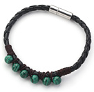 6mm Round Malachite and Black Leather Bracelet with Magnetic Clasp