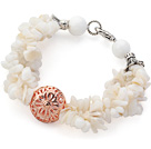 White Series White Shell Chips and White Sea Shell Bracelet with Golden Rose Color Ball