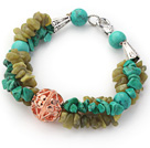 Assorted Green Turquoise and South Korea Jade Bracelet with Golden Rose Color Ball