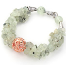 Light Green Series Prehnite Chips Bracelet with Golden Rose Color Ball