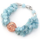 Light Blue Series Aquamarine Chips Bracelet with Golden Rose Color Ball