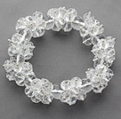 White Series Faceted 8-10mm Clear Crystal Stretch Bracelet under $ 40
