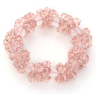 Pink Series Faceted 8-10mm Pink Crystal and Rose Quartz Stretch Bracelet