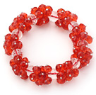 Red Series Faceted 8-10mm Red and Clear Crystal Stretch Bracelet