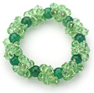 Green Series Faceted 8-10mm Green Crystal and Green Agate Stretch Bracelet under $ 40
