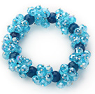 Sky Blue Series Faceted 8-10mm Blue Crystal and Dark Blue Agate Stretch Bracelet