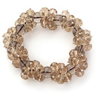 Champagne Color Faceted 8-10mm Crystal and Smoky Quartz Stretch Bracelet