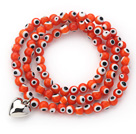 Orange Round Eye Shape Colored Glaze Three Times Wrap Bracelet with Metal Heart Accessory