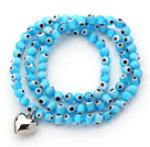 Sky Blue Color Round Eye Shape Colored Glaze Three Times Wrap Bracelet with Metal Heart Accessory under $ 40