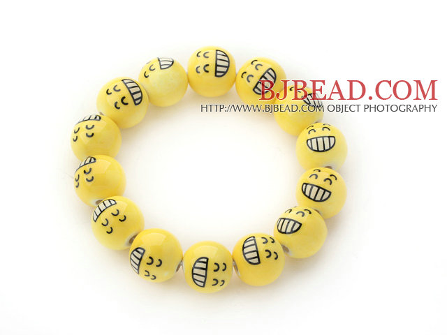 Yellow Color Round Smile Face Porcelain Beaded Stretch Bracelet