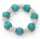 Fashion Style Faceted Turquoise and Metal Spacer Accessories Stretch Bracelet