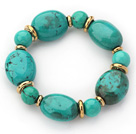 Assorted Green Turquoise Beaded Stretch Bracelet with Golden Color Metal Spacer
