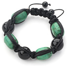Drum Shape Turquoise and Black Agate and Black Leather Woven Adjustable Drawstring Bracelet