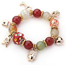 Assorted Red Color Carnelian and Colored Glaze and Mosaics Shell Charm Stretch Bracelet