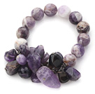 Assorted Round Amethyst and Irregular Shape Amethyst Beaded Stretch Bracelet