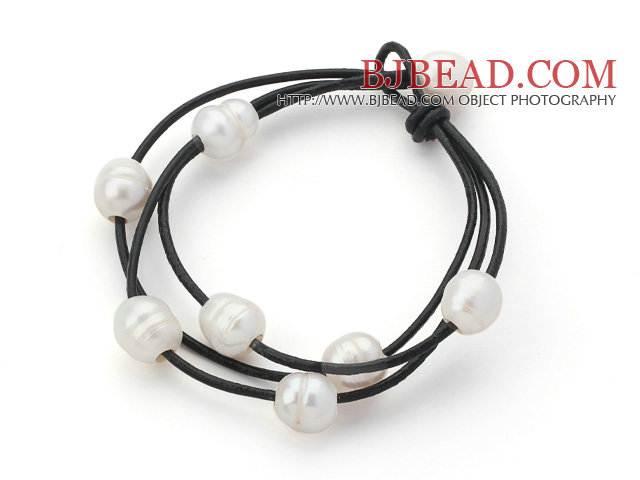 Multi Strands 10 11mm White Freshwater Pearl Leather Bracelet With Black