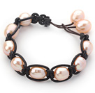 Fashion Style 10-11mm Pink Freshwater Pearl Wrapped Leather Bracelet with Black Leather