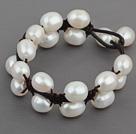 Doble capa de perlas de agua dulce de la pulsera blanca 10-11mm de cuero con cuero Negro
