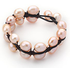 Double Layer 10-11mm Pink Freshwater Pearl Leather Bracelet with Black Leather