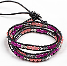 Fashion Style Rose Red Agate Watermelon Crystal Beads Three Times Wrap Bangle Bracelet under $ 7