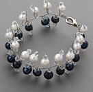 2013 Summer New Design Black and White Freshwater Pearl and Clear Crystal Bridal Bracelet