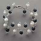 2013 Summer New Design Assorted Black and White Freshwater Pearl and Clear Crystal Bridal Bracelet