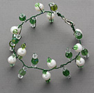 2013 Summer New Design Green and White Freshwater Pearl and Green Crystal Bridal Bracelet