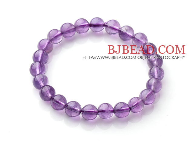 2014 Popular Style A Grade Natural Round 8mm Amethyst Elastic Bracelet