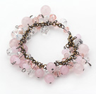 Vintage Style Pink Series Rose Quarta and Pink Crystal Bracelet
