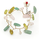 White Freshwater Pearl and Branch Shape Rose Quartz and Olive and Aventurine Wire Crocheted Multi Color Bracelet