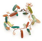 Pink Freshwater Pearl and Branch Shape Aventurine and South Korea Jade Wire Crocheted Multi Color Bracelet