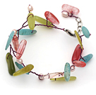 White Freshwater Pearl and Branch Shape Cherry Quartz and South Korea Jade Wire Crocheted Multi Color Bracelet