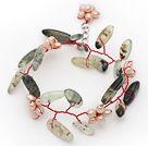 Pink Freshwater Pearl Flower and Branch Shape Prehnite Wire Crocheted Bracelet