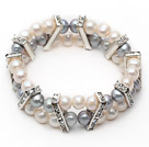 Two Rows 7-8mm Gray and White Round Freshwater Pearl Stretch Bangle Bracelet with Rhinestone Accessories